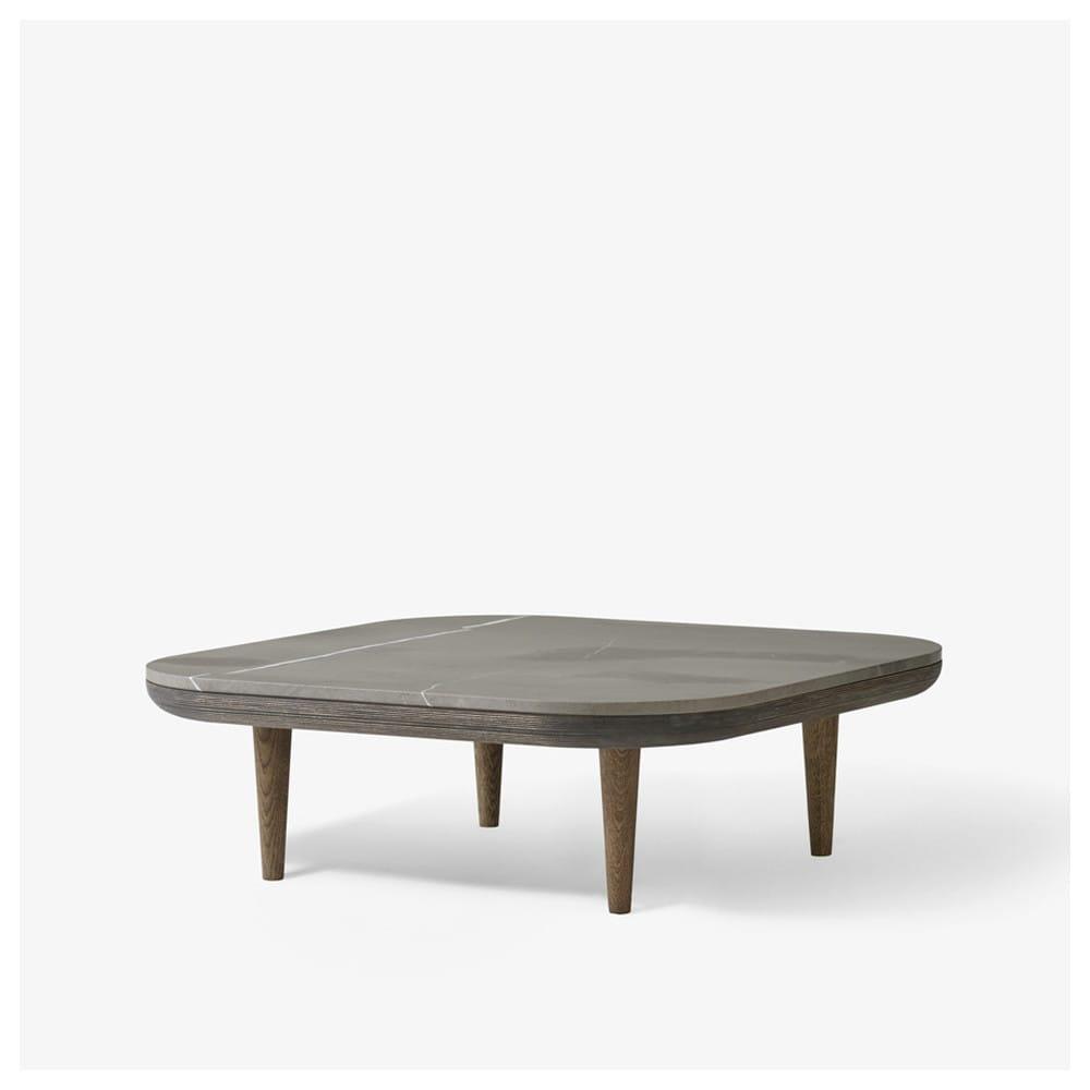 Mesa auxiliar base de madera maciza y sobre de marmol blanco - Mesas auxiliares de diseno ...